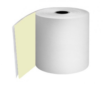 76mm 2ply 12.7mm Core White/Yellow NCR Rolls Boxed 20s - TRD056
